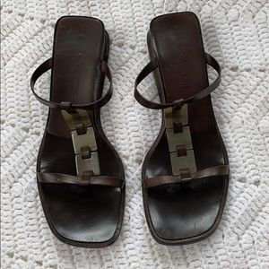 Pancaldi Brown Leather Open Toe Sandals